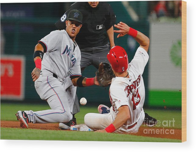 People Wood Print featuring the photograph Matt Carpenter And Starlin Castro by Dilip Vishwanat