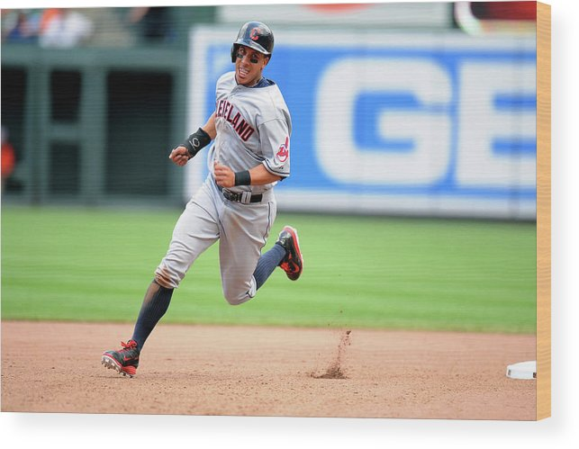 American League Baseball Wood Print featuring the photograph Michael Brantley And Lonnie Chisenhall by Mitchell Layton
