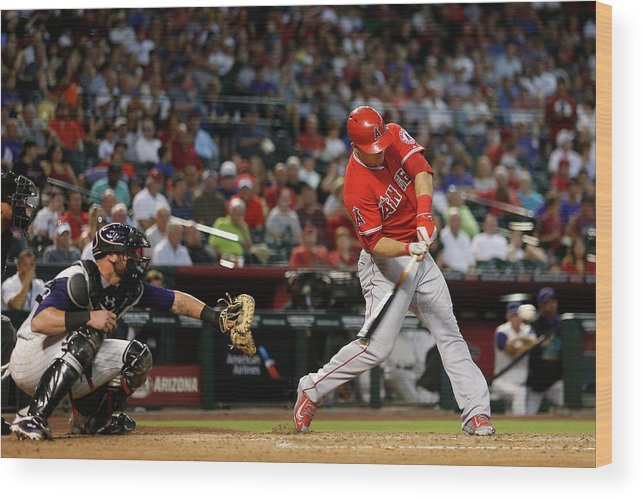 People Wood Print featuring the photograph Mike Trout by Christian Petersen