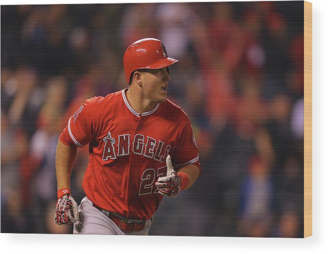 People Wood Print featuring the photograph Mike Trout by Justin Edmonds