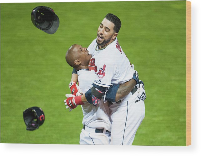 American League Baseball Wood Print featuring the photograph Nyjer Morgan And Mike Aviles by Jason Miller
