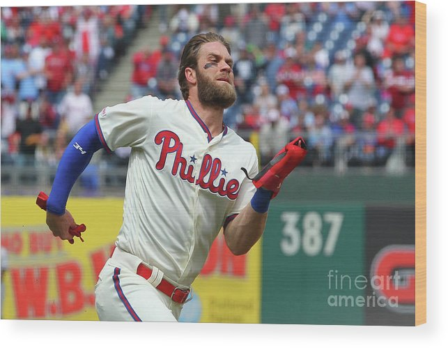 Three Quarter Length Wood Print featuring the photograph Rhys Hoskins And Bryce Harper by Rich Schultz
