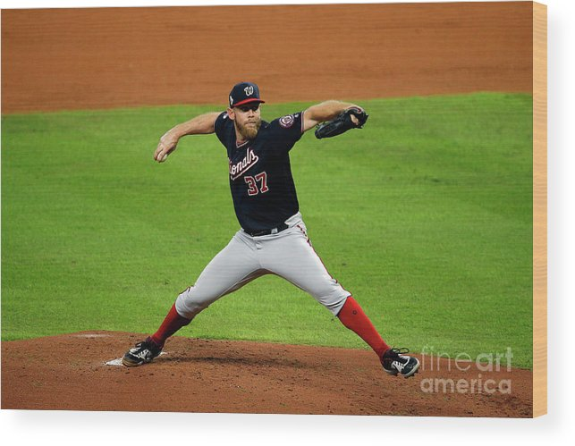 American League Baseball Wood Print featuring the photograph Stephen Strasburg by Bob Levey