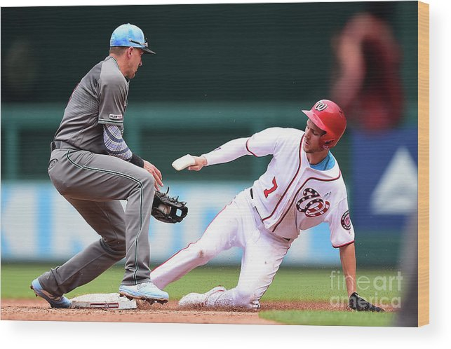 People Wood Print featuring the photograph Trea Turner And Nick Ahmed by Patrick Mcdermott