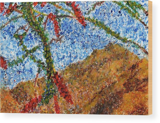 Watercolor Wood Print featuring the painting Ocotillo In Bloom by Cynthia Ann Swan
