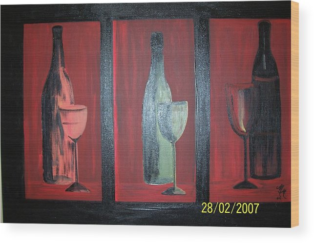 Stilllife Wood Print featuring the print Red Wine by Martha Mullins