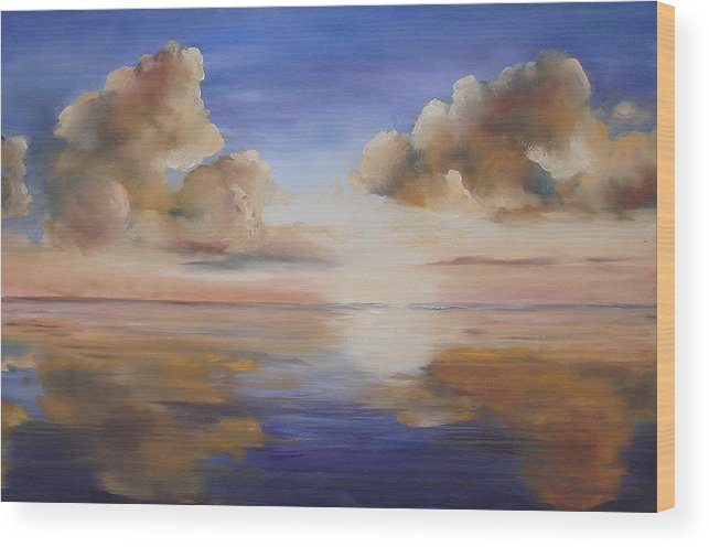 Landscape Wood Print featuring the painting Sunrise On The Rio Grande by Maxine Ouellet