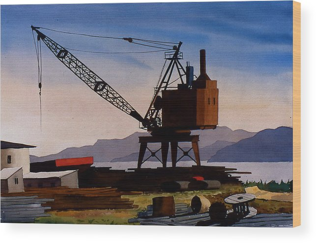 Crane Wood Print featuring the painting The Oldcrane by Faye Ziegler