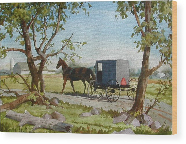 Landscape Wood Print featuring the painting This Side Of Paradise by Faye Ziegler