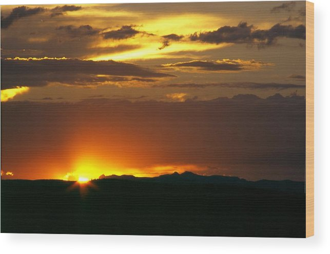 Landscape Wood Print featuring the photograph Two Peaks Sunset by Lynard Stroud