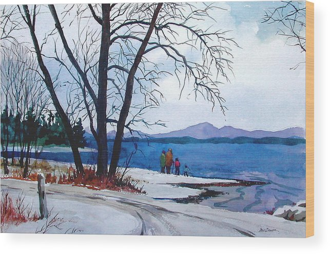Winter Wood Print featuring the painting Winter At The Lake by Faye Ziegler