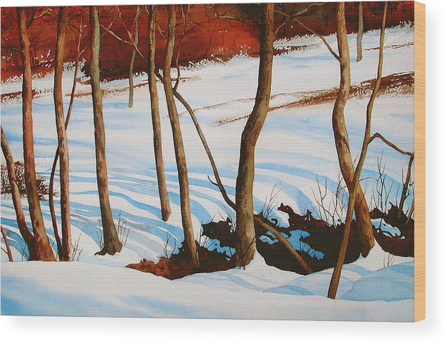 Landscape Wood Print featuring the painting Winter Shadows by Faye Ziegler