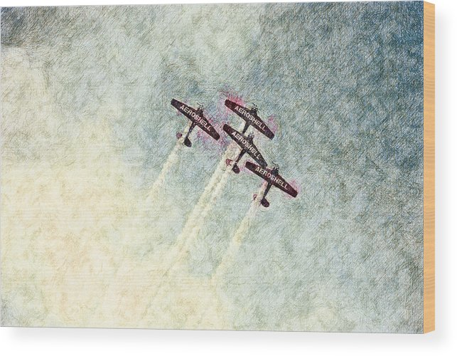 Chicago Wood Print featuring the digital art 0166 - Air Show - Colored Photo 2 Hp by David Lange