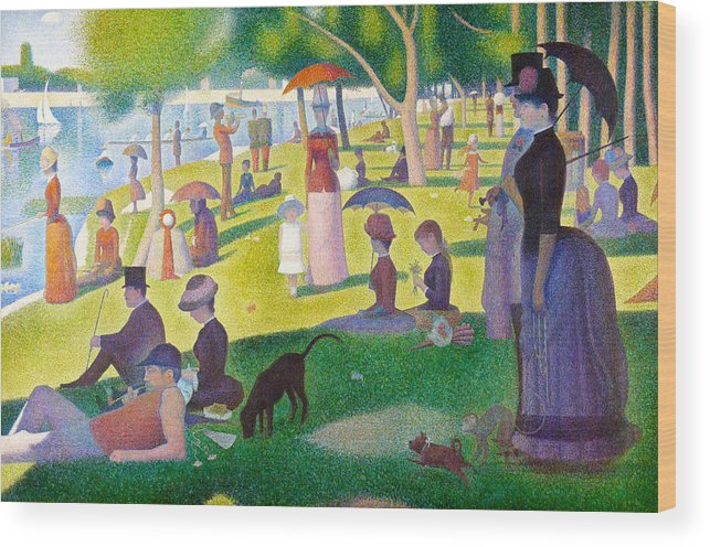 Georges Seurat Wood Print featuring the painting A Sunday On La Grande Jatte by Georges Seurat