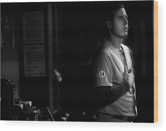 People Wood Print featuring the photograph Chicago Cubs V Miami Marlins by Mike Ehrmann