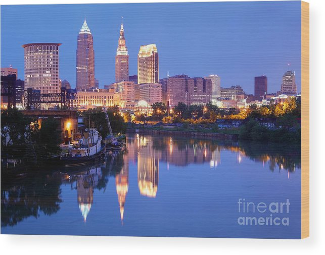 Cleveland Wood Print featuring the photograph Cleveland Ohio by Denis Tangney Jr