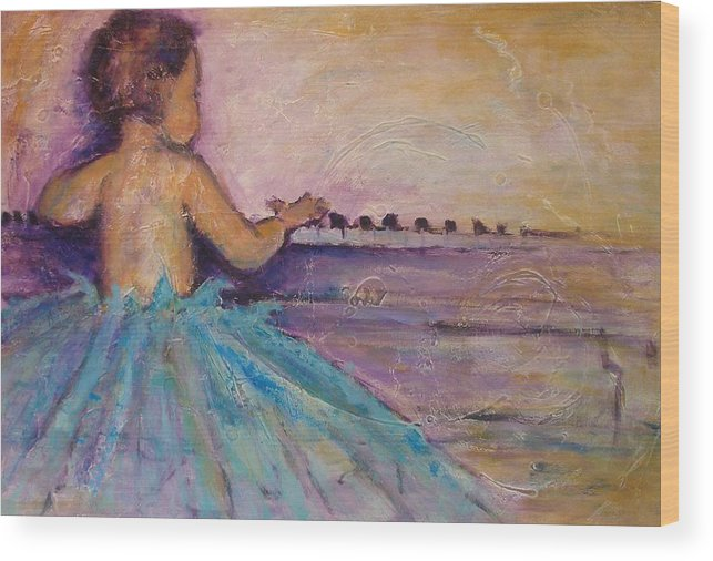 Piano Art Paintings Wood Print featuring the painting Girls Just Need To Have Fun by Valerie Greene