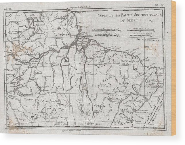 A Fine Example Of Rigobert Bonne And Guilleme Raynal's 1780 Map Of Northern Brazil. This Detailed Map Features The Northern Portion Of Brazil From Bahia To Guyana. This Also Includes A Portion Of The Amazon River And Its Adjancet Rainforest Wood Print featuring the photograph 1780 Raynal And Bonne Map Of Northern Brazil by Paul Fearn