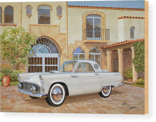 Automotive Fine Art Wood Print featuring the painting 1956 Thunderbird At Palm Beach Classic Vintage Ford Art Sketch Rendering     by John Samsen
