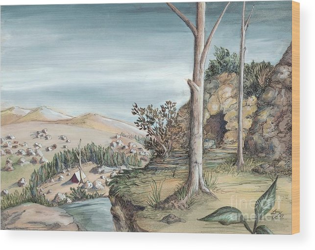 Nature Wood Print featuring the painting Refuge by Lucy Stamatinos