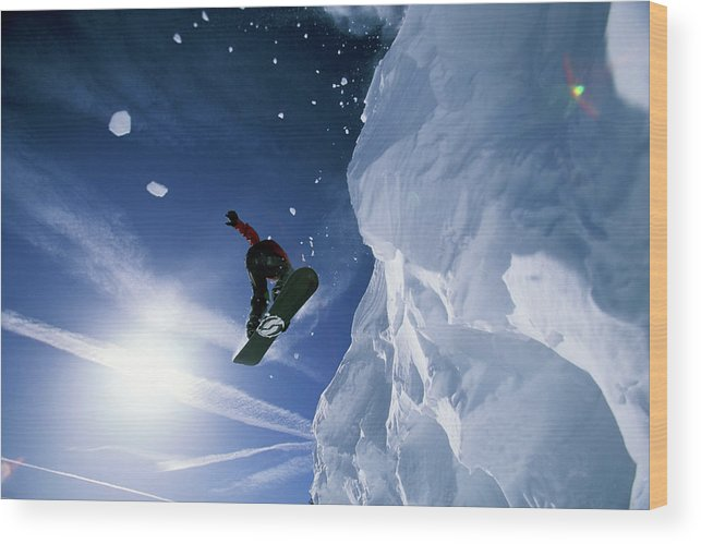 20-24 Years Wood Print featuring the photograph Snowboarding In Lake Tahoe by Corey Rich