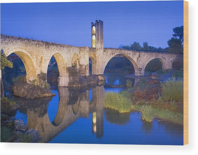 Europe Wood Print featuring the photograph Spain. Besal�. Romanesque Bridge by Everett