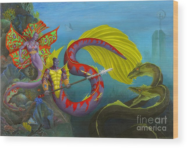 Mermaid Wood Print featuring the painting The Threat by Melissa A Benson