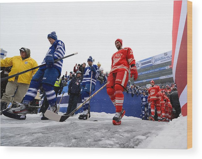 Michigan Stadium Wood Print featuring the photograph 2014 Bridgestone Nhl  Winter Classic - Toronto Maple Leafs 0909be3ed