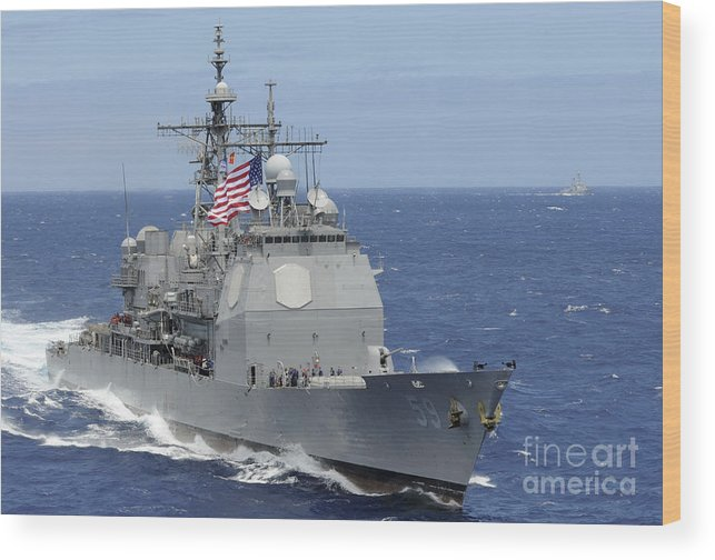 Rimpac Wood Print featuring the photograph The Guided-missile Cruiser Uss by Stocktrek Images