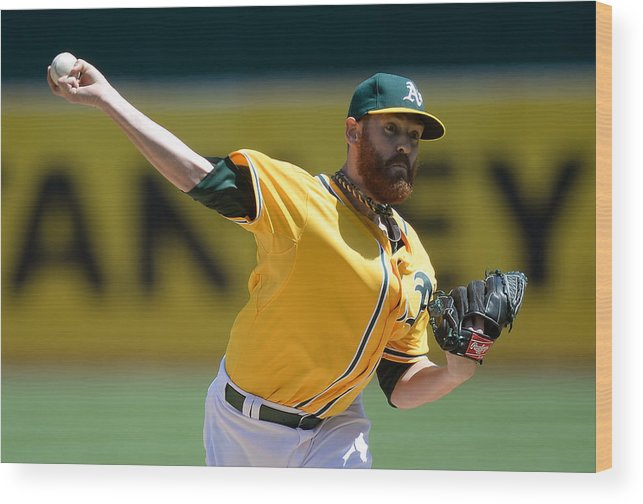American League Baseball Wood Print featuring the photograph Seattle Mariners V Oakland Athletics 8 by Thearon W. Henderson
