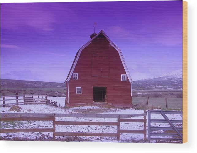 Farms Wood Print featuring the photograph An Old Barn In The Wenas by Jeff Swan