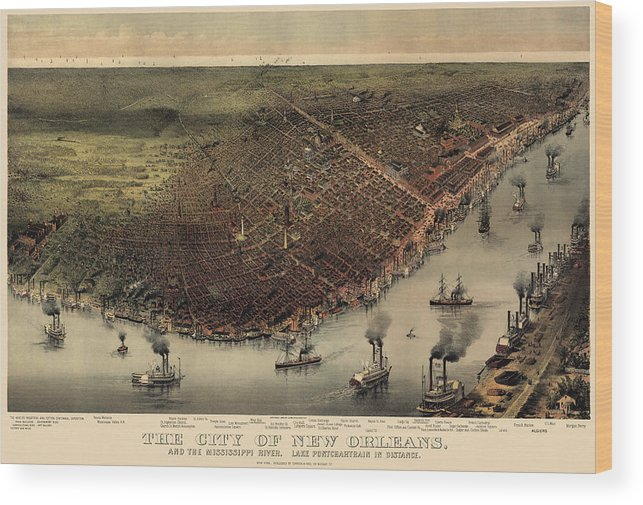 New Orleans Wood Print featuring the drawing Antique Map Of New Orleans By Currier And Ives - Circa 1885 by Blue Monocle
