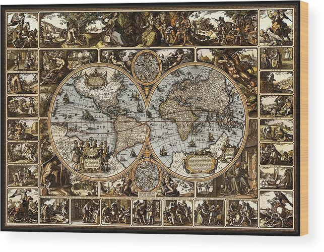 Antique World Map 1660 1670 1680 1690 1700 Decorative Ornate Drawing Pictures Landscapes Landscape Image Images Latitude Latitudes Latitudinal Longitude Longitudes Longitudinal Navigate Navigation Navigational Nautical Mile Tropic Of Cancer Tropic Of Capricorn Arctic Circle Antarctic Seven Continents Five Oceans Continent Ocean North America South America Africa Europe Asia Australia Antarctica Atlantic Pacific Indian Antarctic Artic Cartographer Cartography Cartographic Whaling Fishing  Wood Print featuring the drawing Antique World Map Circa 1670 II by L Brown