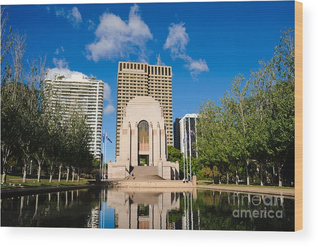 Anzac Memorial Wood Print featuring the photograph Anzac Memorial And Pool Of Reflection by David Hill