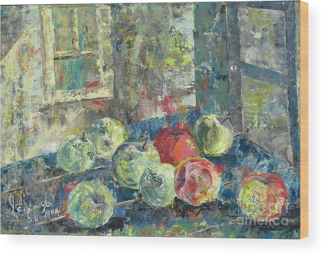 Apples Wood Print featuring the painting Apples - Sold by Judith Espinoza