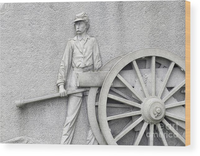 Gettysburg Wood Print featuring the photograph Artillery Detail On Monument by Paul W Faust - Impressions of Light