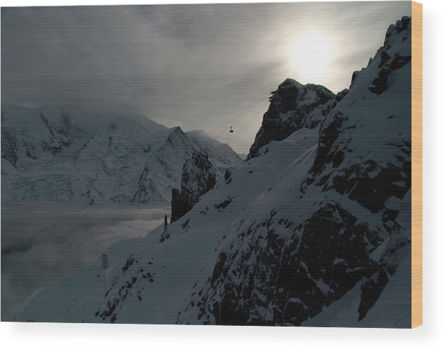 Brevent Wood Print featuring the photograph Backlit Skilift In Beautiful Landscape by Patrik Lindqvist