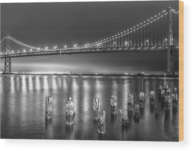 California Wood Print featuring the photograph Bay Bridge Black And White by Robert Aycock