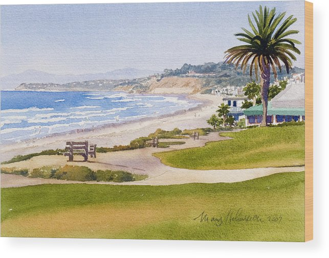 Pacific Wood Print featuring the painting Bench At Powerhouse Beach Del Mar by Mary Helmreich