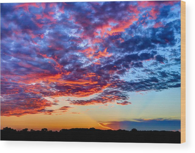 Sunset Wood Print featuring the photograph Big Sunset Sky by Anna-Lee Cappaert