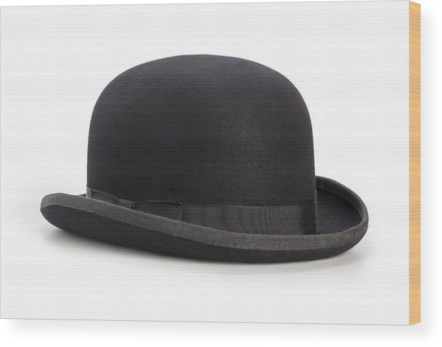 e216a4ebc5b White Background Wood Print featuring the photograph Black Bowler Hat  Isolated On A White Background by