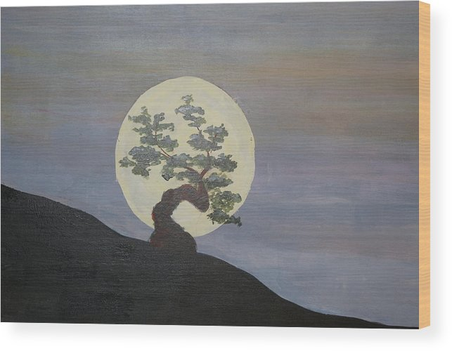Acrylic Landscape Wood Print featuring the painting Bonzai Moon by Steve Lucas