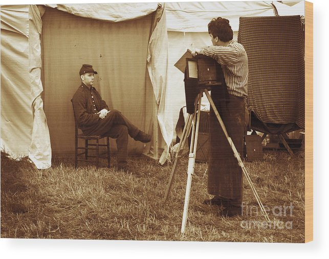 Civil War Wood Print featuring the photograph Camp Photographer by Paul W Faust - Impressions of Light