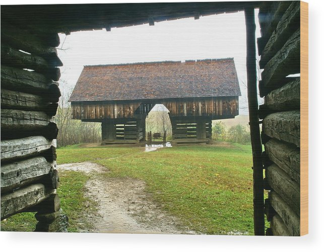 Barn Wood Print featuring the photograph Cantilever Barn In Smokey Mtn Natl Pk by Bj Hodges