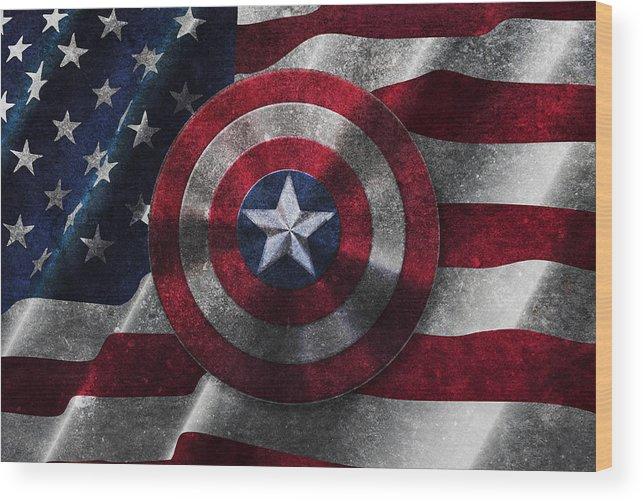 Captain America Shield On Usa Flag Wood Print