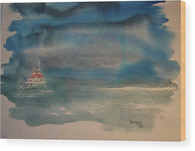 Chesapeake Bay Wood Print featuring the painting Cblighthouse2 by DC Decker