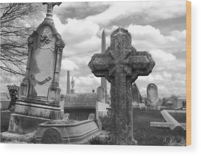 Cemetery Wood Print featuring the photograph Cemetery Graves by Jennifer Ancker