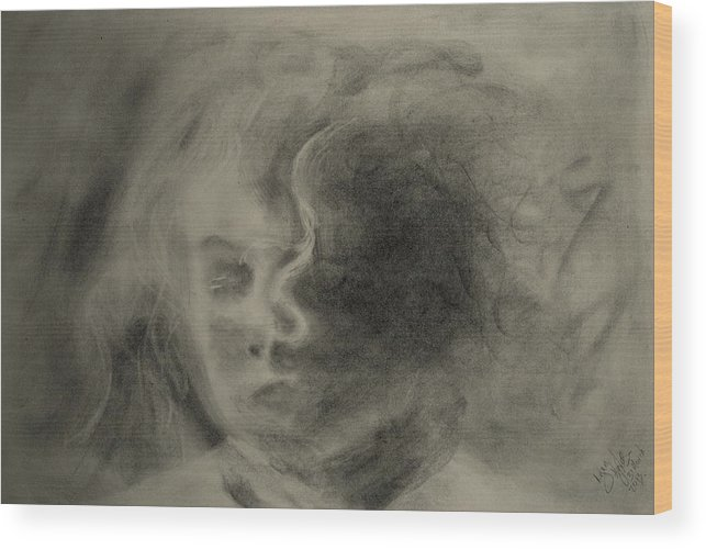 Charcoal Wood Print featuring the drawing Charcoal Study by Lynn Hughes
