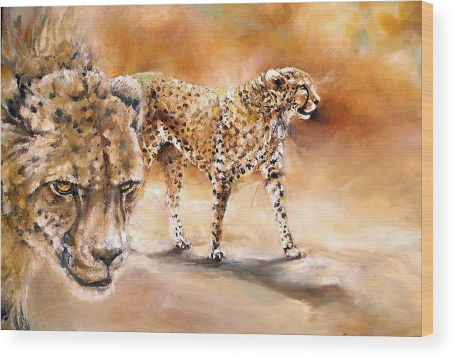 Animal Art. Cheetahs. Oil Painting Wood Print featuring the painting Cheetahs by Samantha Anne Hutchinson