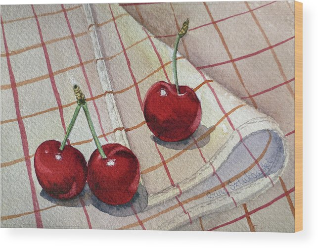 Watercolor Paintings Wood Print featuring the painting Cherry Talk By Irina Sztukowski by Irina Sztukowski